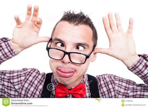 Funny Cross-eyed Nerd Face Royalty Free Stock Images
