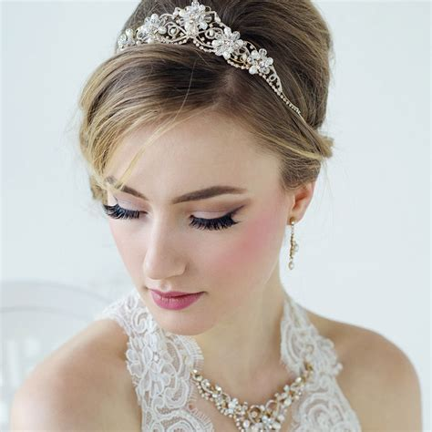 Wedding Tiaras by Gold Wedding Tiara Arianna Zaphira Bridal