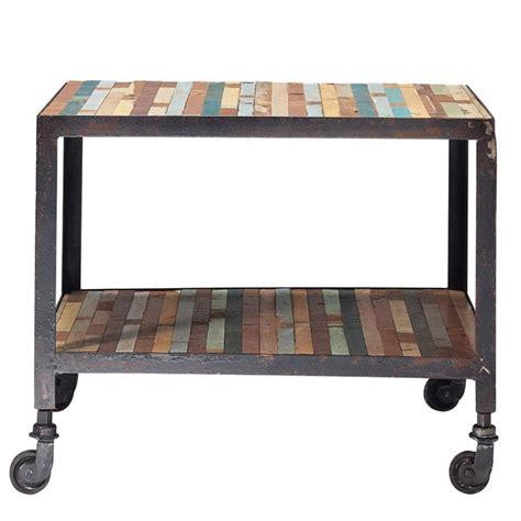 bout de canapé maison du monde bout de canapé à roulettes en bois multicolore l 45 cm
