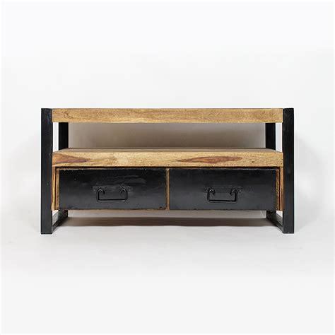 cuisine ilot central table meuble tv industriel 2 tiroirs bois foncé made in meubles