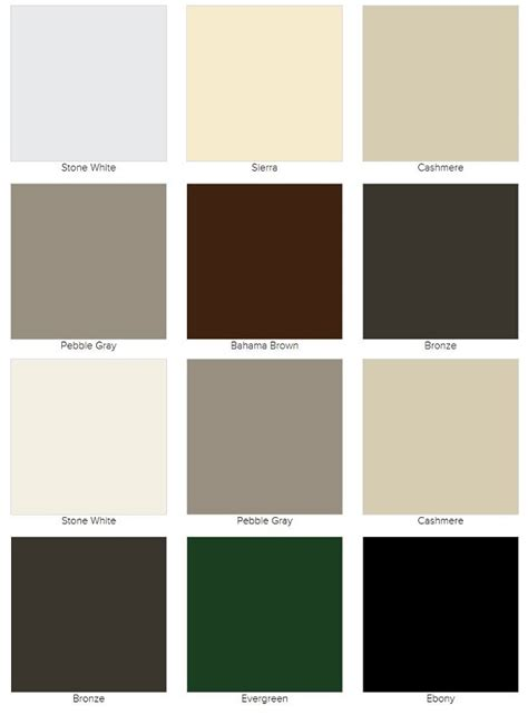 marvin color finish options color chart finish chart marvin window  door parts