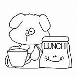 Lunch Coloring Outline sketch template
