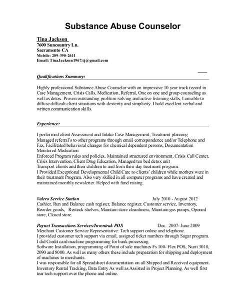addictions counselor mock resume tina jackson substance abuse resume 2015