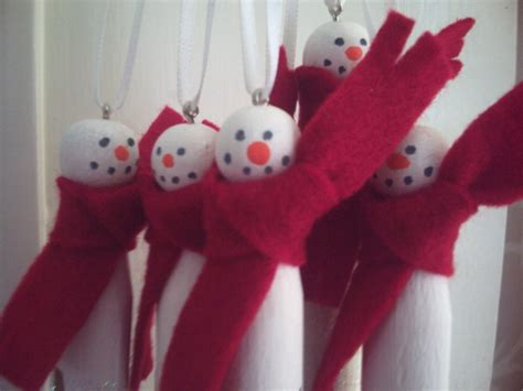 snowmen dolly peg tree decorations hearty hame on