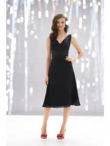 tea length bridesmaid dresses black v neck tea length chiffon bridesmaid dress prlog