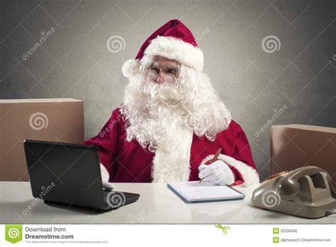 Of Santa by Santa Claus Office Stock Image Image Of Glasses Package