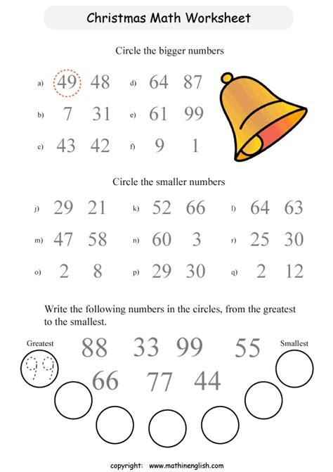printable christmas comparing numbers worksheet for kids