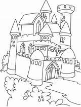 Coloring Castle Medieval Popular sketch template