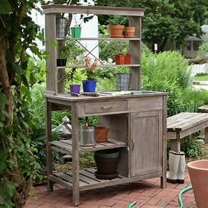 Rustic, Garden, Storage, Potting, Bench