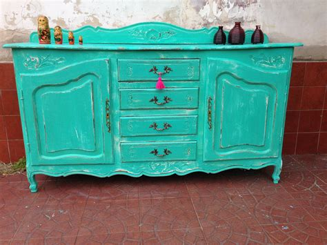 mueble provenzal turquesa decapado muebles vintouch de