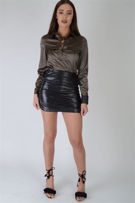Lovemystyle Black Faux Leather Skirt With Lace Detail