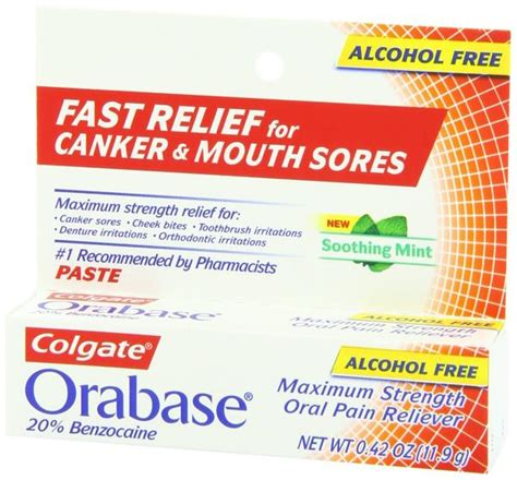 Colgate Orabase Paste with Benzocaine, pain relief for