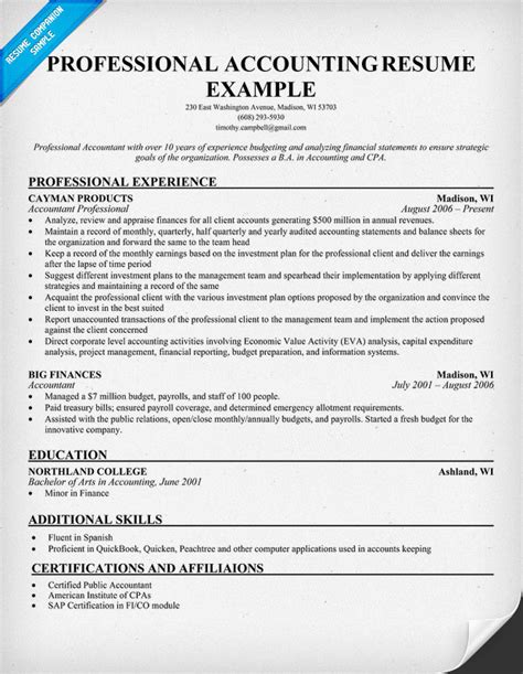 resume for an accountant professional accounting resume resume samples across all