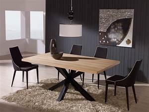 table de salle a manger carree avec pied central maison With meuble salle À manger avec table salle a manger bois metal