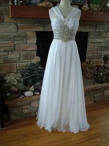 Wedding dress Chiffon 60's Style Goddess Gown Rhinestone