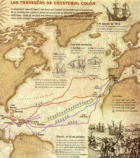 Rutas De Los Barcos De Cristobal Colon by Crist 243 Bal Col 243 N Am 233 Rica Espa 241 A Historia Viajes Geograf 237 A