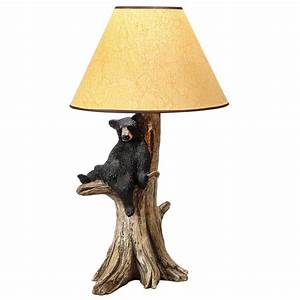 Rustic table lamps resting black bear table lamp black for Floor lamp with bear