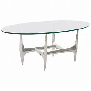 large oval coffee table by knut hesterberg glass aluminum With large oval glass coffee table