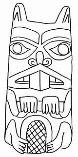 Coloring Pages Totem Beaver Pole Poles Drawing Animal Native American Outline Totems Craft Draw Sketch Beavers Animals Drawings Indian Wolf sketch template