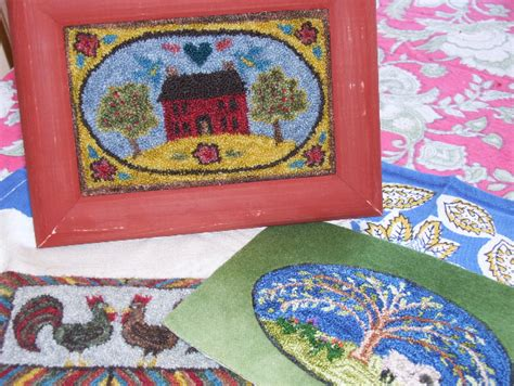 miniature punch needle hooked rugs  conner hooked rugs