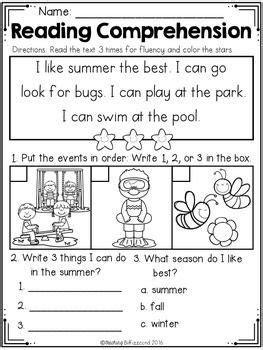 kindergarten reading comprehension summer edition