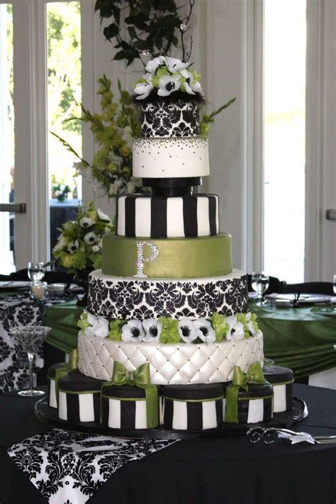 Green Black And White Damask Wedding Cake Cakecentralcom