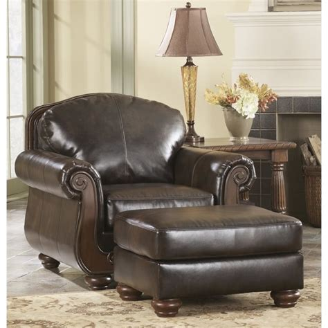 barcelona faux leather accent chair and ottoman in