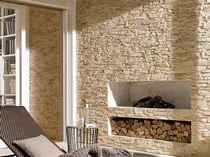 Naturstein Wandverkleidung Wohnzimmer : steinwand im wohnzimmer 30 inspirationen von klimex ~ Michelbontemps.com Haus und Dekorationen