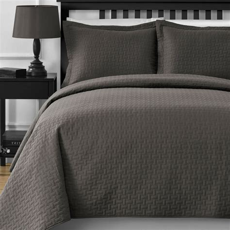 Grey King Coverlet by Oversized Thermal Pressing Modern Quilted King