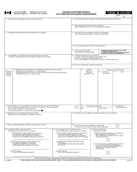 canada customs invoice fillable printable