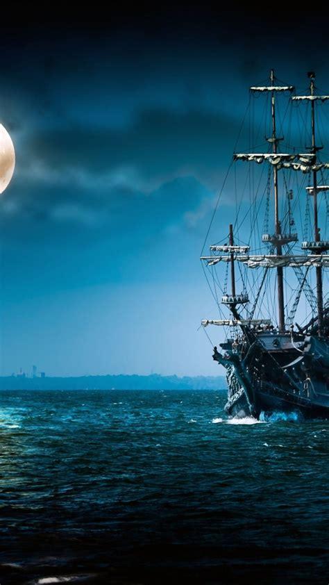 wallpaper ship sea moon night art