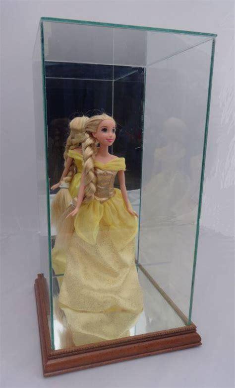 custom doll case  wood trim small doll  figurine