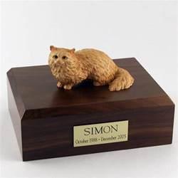 cat cremation angora brown cat figurine pet cremation urn