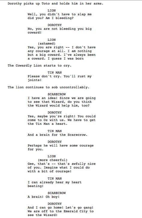 script wonderful wizard  oz film