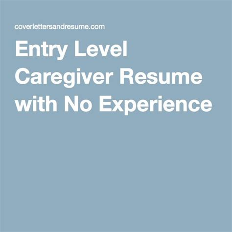 Caregiver Experience by Entry Level Caregiver Resume With No Experience