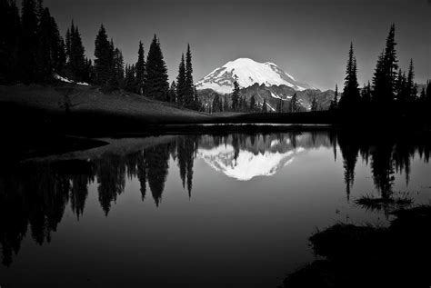 reflection  mount rainer  calm lake photograph  bill