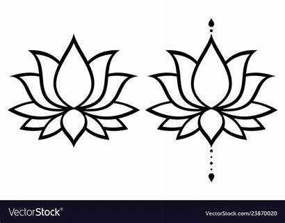 Lotus Flower Vector Yoga Decoration Drawing Vectorstock