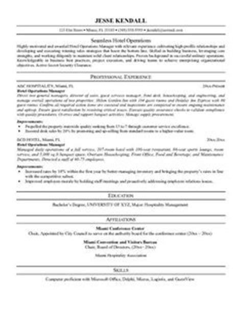 Hospitality Resume Terminology by Hospitality Resume Writing Exle Page 1 Resume Writing