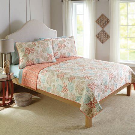better homes and gardens quilt sets better homes and gardens coral and shells bedding quilt