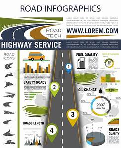 Road Infographic  Roadway With Pin