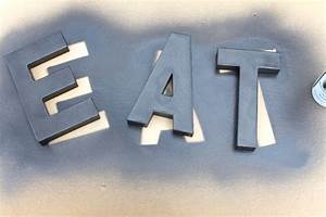 diy weathered metal letters 7th house on the left With letters for spray painting