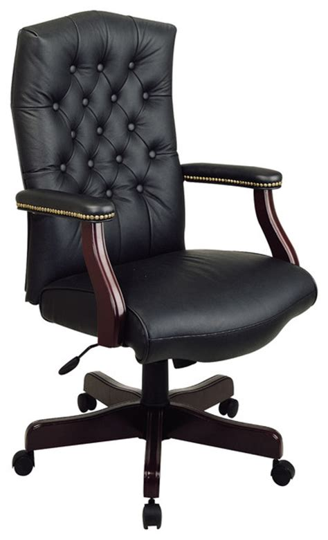 traditional executive leather office chair with padded