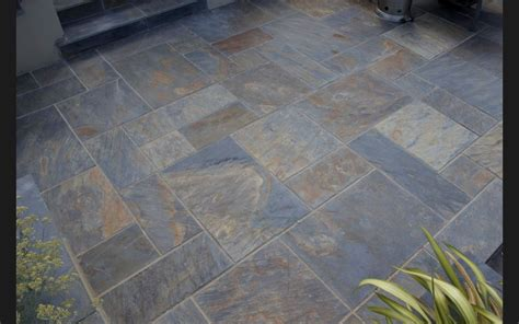 rustic copper slate paving slabs garden patio