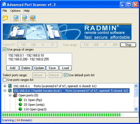 advanced port scanner    software reviews