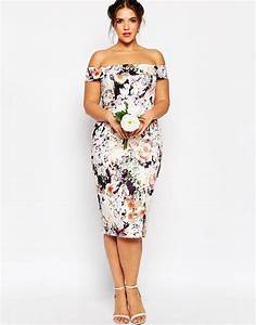 asos wedding bardot floral off shoulder pencil dress lyst With pencil dress for wedding