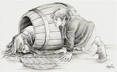 Bilbo Baggins Hobbit Coloring Thorin Tolkien Barrel