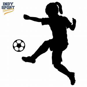 Soccer Player Girl Silhouette Kicking Ball - Car Stickers ...