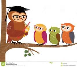 Cartoon Owl Teacher and Students