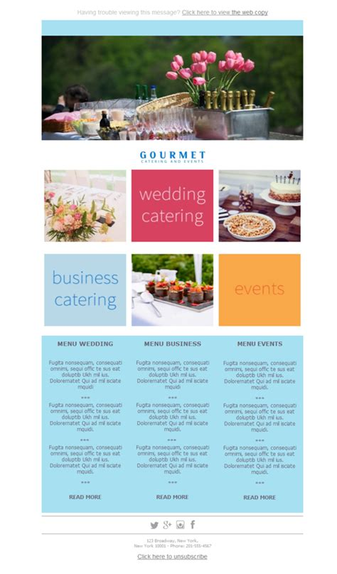catering email template free email templates design catering gourmet