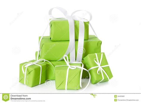 Green Isolated Gift Boxes Tied With White Ribbon For